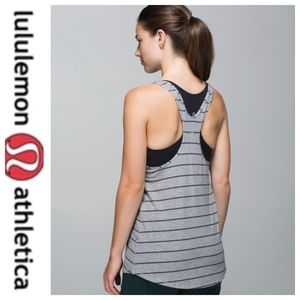 💕SALE💕 Lululemon Gray Stripe Om Racerback